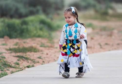 Rick Egan  |  The Salt Lake Tribune  Aira Martineua, 2, wears her dancing regalia at the Parowan Gap, Wednesday, May 6, 2015.