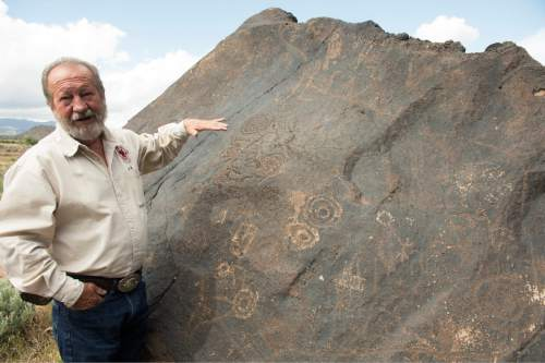 Rick Egan  |  The Salt Lake Tribune  Paiute Indian Tribe of Utah Economic Development Director Gaylord Robb explains the Paiutes rock art near Toquerville, Tuesday, May 5, 2015.
