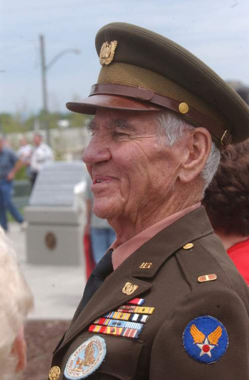 Robert Avedisian, a member of the Pearl Harbor Survivor Association, attended the dedication of a World War II memorial in Cedar City Saturday, wearing the same uniform he did in the war. Mark Havnes/The Salt Lake Tribune