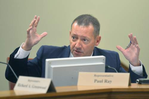 Chris Detrick  |  Tribune file photo Rep. Paul Ray (R-Clearfield) speaks during a Law Enforcement and Criminal Justice Interim Committee meeting Wednesday September 17, 2014.