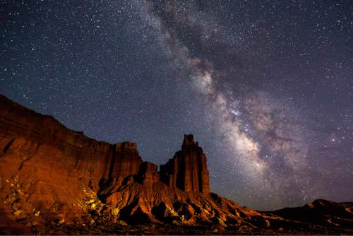 Courtesy  |  Jacob W. Frank, NPS  The Milky Way arches over Capitol Reef National Parkís iconic Chimney Rock.