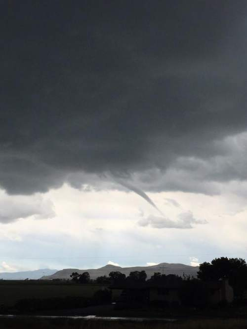 (Courtesy of the National Weather Service)  A funnel cloud was spotted Thursday, May 28, 2015, over Elwood.
