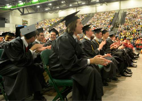 Al Hartmann |  The Salt Lake Tribune The largest senior graduating class of Lone Peak High School holds commencement excercises at the UCUU Events Center Thursday May 28, 2015.