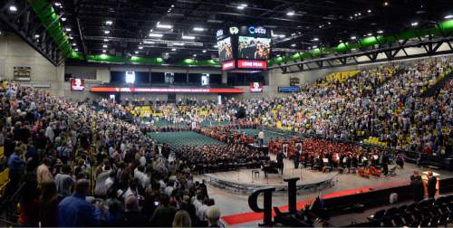 Al Hartmann |  The Salt Lake Tribune Families fill the UCUU Events Center for the largest senior graduating class of Lone Peak High School Thursday May 28, 2015.