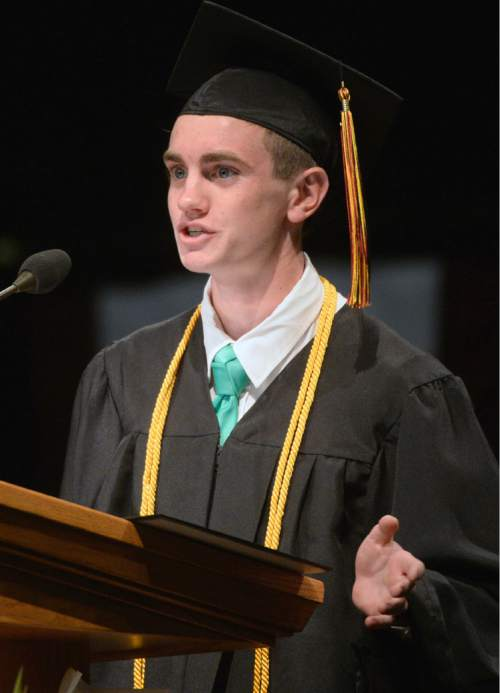 Al Hartmann |  The Salt Lake Tribune Valedictorian Jacob Warner speaks to the largest senior graduating class of Lone Peak High School at commencement at the UCUU Events Center Thursday May 28, 2015.