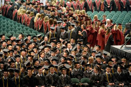 Al Hartmann |  The Salt Lake Tribune The largest senior graduating class of Lone Peak High School marches in procession into the UCUU Events Center Thursday May 28, 2015, for commencement excercises.