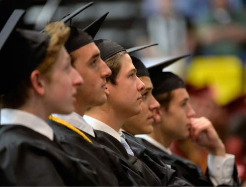 Al Hartmann |  The Salt Lake Tribune Members of the largest senior graduating class of Lone Peak High School listen to speakers at commencement excercises at the UCUU Events Center Thursday May 28, 2015.