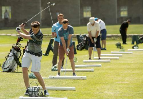Rick Egan  |  The Salt Lake Tribune  The driving range at Mulligans, Monday, June 1, 2015.