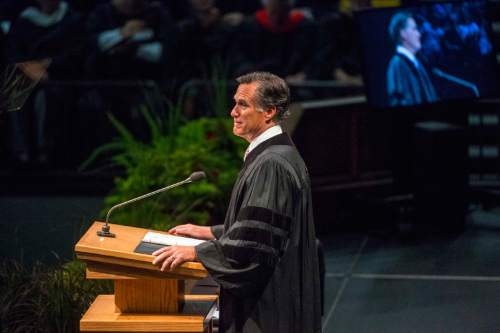 Chris Detrick  |  The Salt Lake Tribune Mitt Romney speaks during Utah Valley University's Commencement Ceremonies at the UCCU Events Center Thursday April 30, 2015.