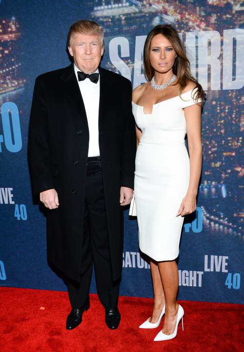 Donald Trump and Melania Trump attend the SNL 40th Anniversary Special at Rockefeller Plaza on Sunday, Feb. 15, 2015, in New York. (Photo by Evan Agostini/Invision/AP)