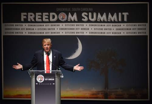 Donald Trump speaks at the Freedom Summit, Saturday, May 9, 2015, in Greenville, S.C. (AP Photo/Rainier Ehrhardt)