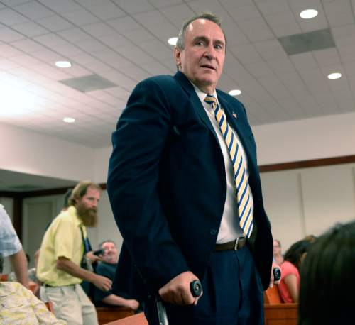 Al Hartmann  |  Tribune file photo  Former Attorney General Mark Shurtleff, appearing in court on criminal charges in July 2014.