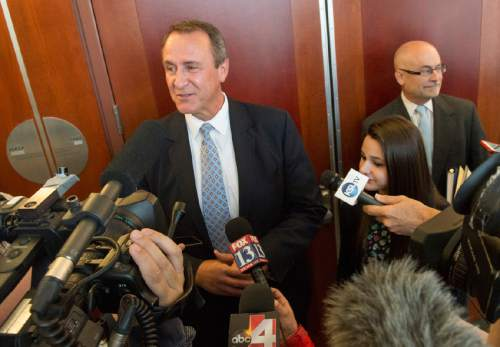 Rick Egan  |  The Salt Lake Tribune  Former Attorney General Mark Shurtleff talks to the media after his scheduling hearing at the Matheson Courthouse, Monday, March 23, 2015.  Third District Court Judge Randall Skanchy set a June 15 date for a hearing to determine whether Shurtleff will stand trial on bribery and corruption charges.