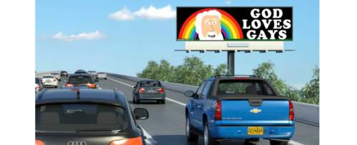"""Courtesy This rendering shows the """"God Loves Gays"""" billboards going up nationally, including one in Orem and another planned for the Salt Lake Valley."""