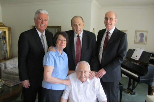 Courtesy photo Members of the LDS Church's First Presidency, President Dieter F. Uchtdorf, back left, President Thomas S. Monson and President Henry B. Eyring, visit fellow Mormon apostle L. Tom Perry, front. and his wife, Barbara, at the couple's home on May 1.