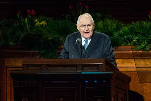 Chris Detrick  |  The Salt Lake Tribune Elder L. Tom Perry, of the Quorum of the Twelve Apostles, speaks during the 185th Annual LDS General Conference Saturday April 4, 2015.