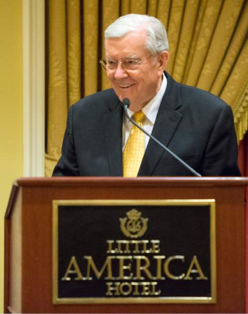 Rick Egan     The Salt Lake Tribune  LDS apostle M. Russell Ballard speaks at a reception for departing Archbishop John C. Wester at the Little America on Sunday, May 31, 2015.