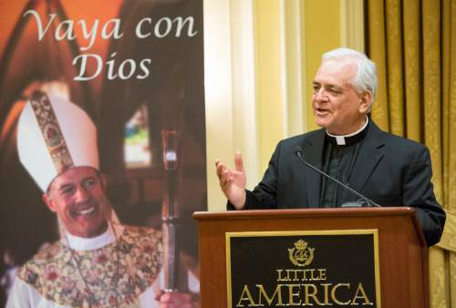 Rick Egan  |  The Salt Lake Tribune  The Rev. Martin Diaz,pastor of the Cathedral of the Madeleine, speaks at a reception for departing Archbishop John C. Wester at the Little America on Sunday, May 31, 2015.