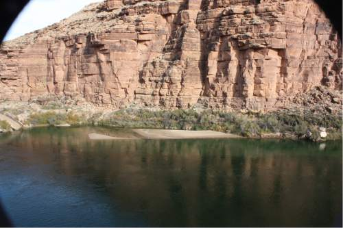 """Courtesy     USGS  Photograph of a sandbar monitoring site at Cathedral Wash before the November 2014 high-flow release from Glen Canyon Dam.These annual """"floods"""" are helping restore the Colorado River's sandbars in the Grand Canyon."""