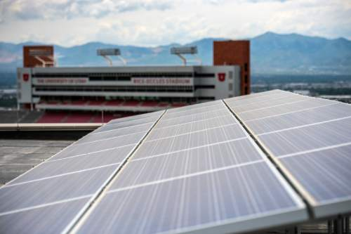 Chris Detrick  |  The Salt Lake Tribune Solar panels on top of the University of Utah's Marriott Library Friday June 5, 2015. The U.S. Environmental Protection Agency has once again recognized the University of Utah as a top school for green power purchasing in its College and University Green Power Challenge.