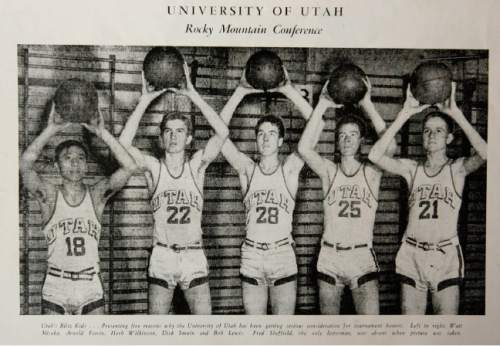 Above, the program from the March 24-25, 1944 NCAA game at the Municipal Auditorium in Kansas City, MO., featuring Ute players l-r Watt Misaka, Arnie Ferrin, Herb Wilkinson, Dick Smuin and Bob Lewis.  Arnie Ferrin has ties to the NCAA's Final Four tournament unlike any Utahn, having played for the University of Utah's 1944 championship basketball team and serving on the NCAA committee. Ferrin has attended every NCAA event for the past 30 years.   Photo by Leah Hogsten. SLC 3/28/06