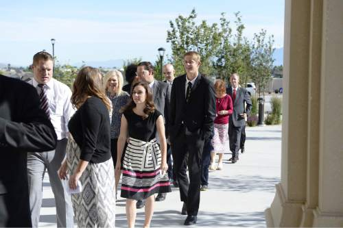 (Courtesy of the LDS Church)  Members of The Church of Jesus Christ of Latter-day Saints arrive early to the Payson Utah Temple to participate in the temple's dedication on Sunday, June 7, 2015.