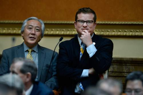 Scott Sommerdorf   |  Tribune file photo Freshman state Rep. Justin Miller, right, stands during debate on the Utah House floor in January. Miller, a Salt Lake City Democrat, is involved in a crossfire of allegations with his former boss, Salt Lake County Mayor Ben McAdams. Rep. Curt Oda, R-Clearfield, left.