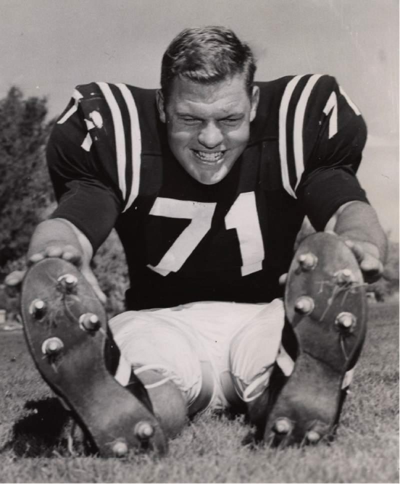    Tribune File Photo  Merlin Olsen at Utah State University on November 2, 1960.