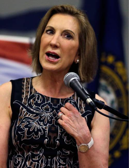 Republican presidential candidate, former Hewlett-Packard CEO, Carly Fiorina speaks at a campaign event at New Boston Central School, Tuesday, June 9, 2015, in New Boston, N.H. (AP Photo/Elise Amendola)