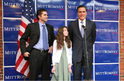 Courtesy  |  Abby Brack  Governor Mitt Romney was joined by his son Tagg and 11-year-old granddaughter Allie on the campaign trail in Keene, NH on Tuesday April 3, 2007.