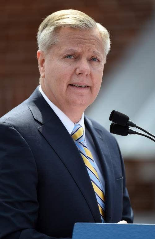 Sen. Lindsey Graham, R-S.C. speaks to supporters after announcing his bid for presidential election, Monday, June 1, 2015, in Central, S.C. (AP Photo/Rainier Ehrhardt)