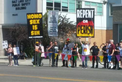 Shaheed M. Morris  |  The Salt Lake Tribune Protesters picketed Sunday's Gay Pride Parade in downtown Salt Lake City, June 7, 2015.