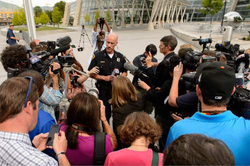 Trent Nelson  |  The Salt Lake Tribune Former Salt Lake City Police Chief Chris Burbank speaks to reporters about his departure in front of the Public Safety Building in Salt Lake City Thursday June 11, 2015.