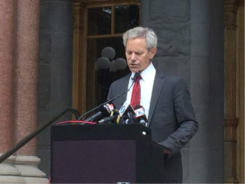 Nick Steffens  |  KUTV  Mayor Ralph Becker address the media during a press conference regarding the Salt Lake Police Department sexual harassment issues and the stepping down of Salt Lake City Police Chief Chris Burbank on Thursday June 11, 2015.