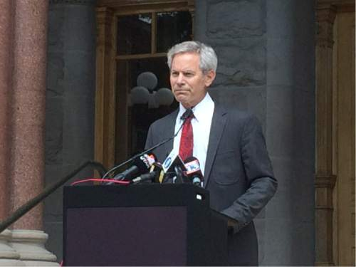 Nick Steffens  |  KUTV  Mayor Ralph Becker address the media regarding the Salt Lake Police Department sexual harassment issues and the stepping down of Salt Lake City Police Chief Chris Burbank on Thursday June 11, 2015.