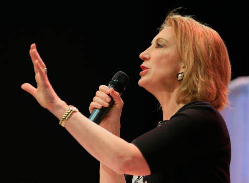 Former Hewlett-Packard CEO Carly Fiorina speaks at the Iowa Faith & Freedom 15th Annual Spring Kick Off, in Waukee, Iowa, Saturday, April 25, 2015. (AP Photo/Nati Harnik)