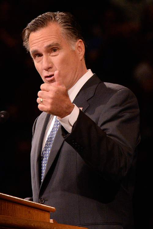 Al Hartmann  |  Tribune file photo Mitt Romney spoke about the economy to a Utah audience Wednesday night in downtown Salt Lake City. Romney, who is leading most polls for 2016 GOP presidential candidates, has not said whether he will launch another White House bid.