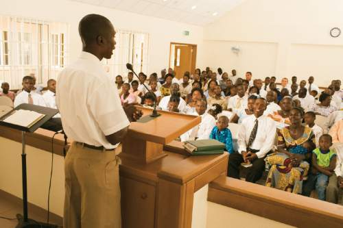 Courtesy  |  LDS Church  A Church meeting in Ghana, Africa.