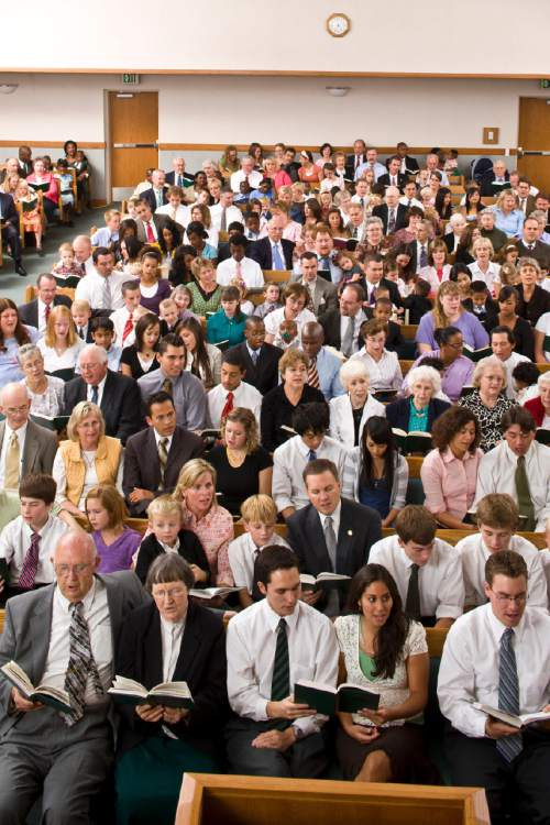Courtesy  |  LDS Church  A Latter-day Saint Sunday worship service, called sacrament meeting.