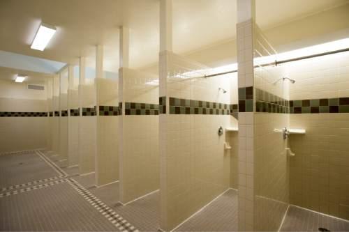 Rick Egan     The Salt Lake Tribune  The men's shower room in the new Lantern House homeless shelter in Ogden, Tuesday, June 16, 2015.