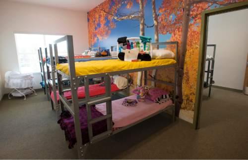 Rick Egan     The Salt Lake Tribune  One of the 14 family rooms in the new Lantern House homeless shelter in Ogden, Tuesday, June 16, 2015.