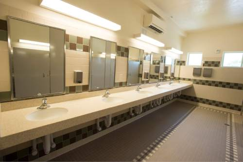 Rick Egan  |  The Salt Lake Tribune  The women's restroom in the new women's dormitory in the new Lantern House homeless shelter in Ogden, Tuesday, June 16, 2015.