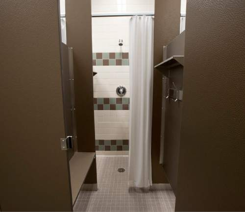 Rick Egan     The Salt Lake Tribune  The women's shower room features private showers and dressing rooms in the new women's dormitory in the new Lantern House homeless shelter in Ogden, Tuesday, June 16, 2015.