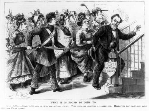 """image courtesy Library of Congress  """"What Is Bound to Come"""" is an anti-polygamy cartoon from 1873. It depicts a US soldier forcing Brigham Young into a divorce court."""