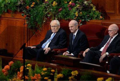 Scott Sommerdorf  |  Tribune file photo Elder L. Tom Perry, left, Russell M. Nelson, center, and Dallin H. Oaks, right, sit as the 184th Semiannual General Conference of The Church of Jesus Christ of Latter Day Saints begins, Sunday, October 5, 2014.