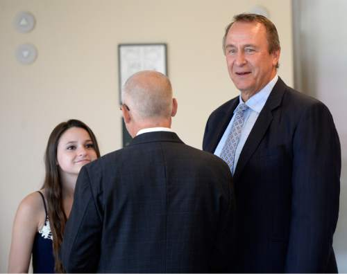 Al Hartmann |  The Salt Lake Tribune Former Utah Attorney general Mark Shurtleff enters Judge Randall Skanchy's courtroom with daughter Annie and lawyer Richard Van Wagonner in Salt Lake City Monday June 15 for a preliminary hearing.