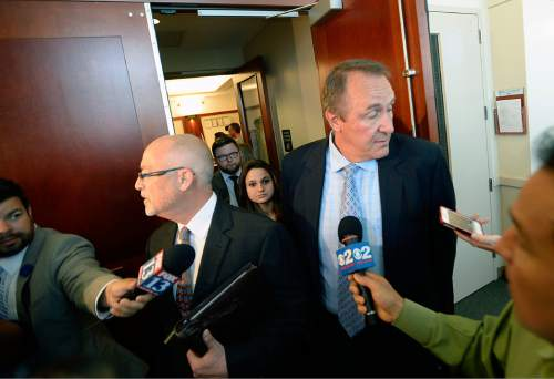 Al Hartmann |  The Salt Lake Tribune Former Utah Attorney General Mark Shurtleff, right, and his attorney Richard Van Wagonner leave  Judge Randall Skanchy's courtroom in Salt Lake City Monday June 15 after a preliminary hearing.