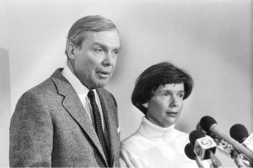 Rick Egan  |  Tribune File Photo  Jon M. and Karen Huntsman, 1987.