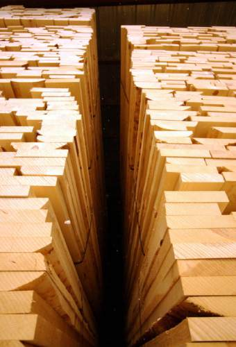 Large piles of Ponderosa Pine await transport at the Escalante Sawmill which is back in business following a five month closing.     Francisco Kjolseth/The Salt Lake Tribune      09/25/2002