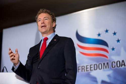 Republican presidential candidate Sen. Rand Paul, R-Ky. speaks during the Road to Majority 2015 convention at the Omni Shoreham Hotel  in Washington, Thursday, June 18, 2015. (AP Photo/Andrew Harnik)